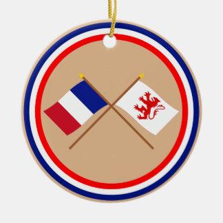 Banderas cruzadas de Francia y de Gers Adornos De Navidad