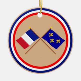 Banderas cruzadas de Francia y de Île-de-Francia Ornamentos De Reyes Magos