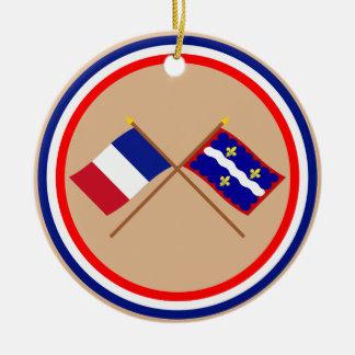 Banderas cruzadas de Francia y de Indre Ornatos