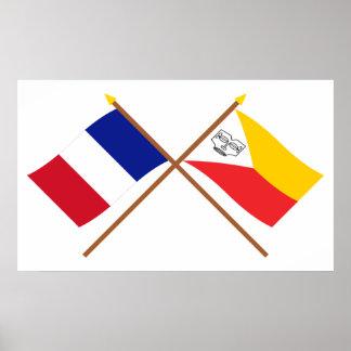 Banderas cruzadas de Francia y de las islas de Mar Poster