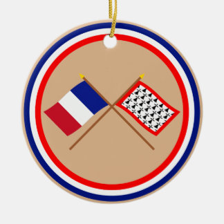 Banderas cruzadas de Francia y de Lemosín Ornamentos Para Reyes Magos