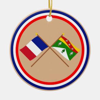 Banderas cruzadas de Francia y de los Vosgos Adorno
