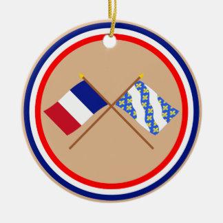 Banderas cruzadas de Francia y de los Yvelines Adorno De Reyes