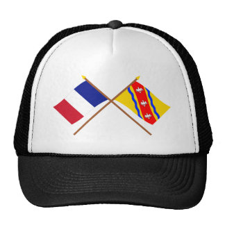 Banderas cruzadas de Francia y de Meurthe-et-Mosel Gorras