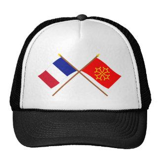 Banderas cruzadas de Francia y de Midi-Pyrénées Gorros Bordados