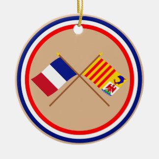 Banderas cruzadas de Francia y de PACA Ornatos