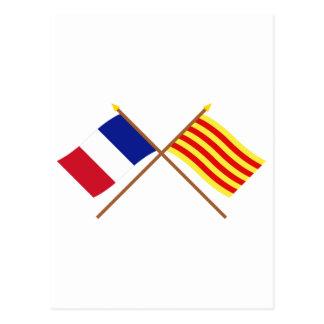 Banderas cruzadas de Francia y de Postal