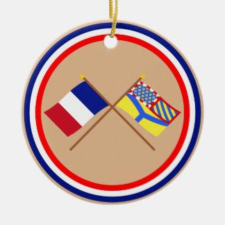 Banderas cruzadas de Francia y de Yonne Ornamento Para Reyes Magos