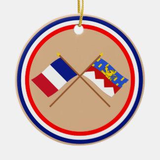 Banderas cruzadas de Francia y del Jura Ornaments Para Arbol De Navidad
