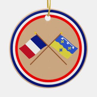 Banderas cruzadas de Francia y del Loir-et-Cher Adornos De Navidad
