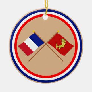Banderas cruzadas de Francia y del Loira Ornamentos De Reyes Magos