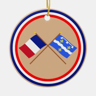 Banderas cruzadas de Francia y del Loiret Ornato
