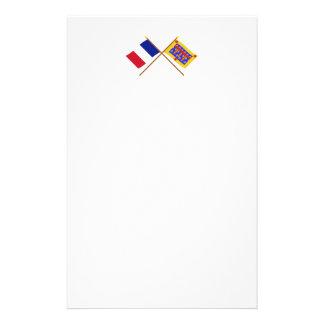 Banderas cruzadas de Francia y del Pas-de-Calais Papeleria Personalizada
