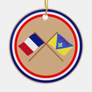 Banderas cruzadas de Francia y del Var Ornamento De Navidad