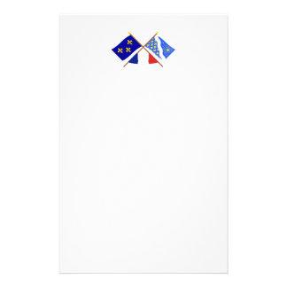 Banderas cruzadas de Île-de-Francia y de Essonne Papelería Personalizada