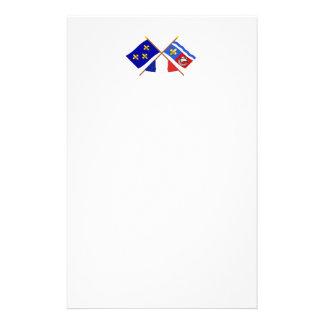 Banderas cruzadas de Île-de-Francia y del Hauts-de Papelería De Diseño