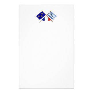 Banderas cruzadas de Île-de-Francia y del Seine-et Papelería Personalizada