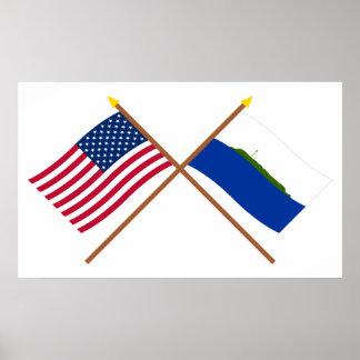 Banderas cruzadas de la isla de los E.E.U.U. y de  Impresiones