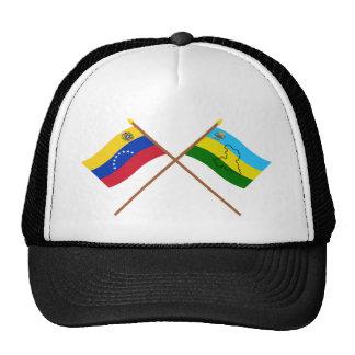 Banderas cruzadas de Venezuela y de Anzoátegui Gorro