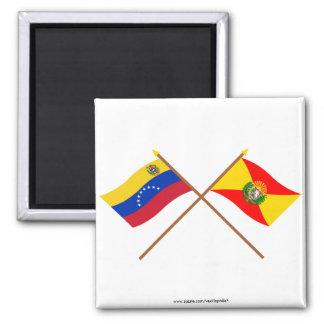 Banderas cruzadas de Venezuela y de Aragua Imán Cuadrado