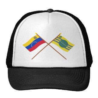 Banderas cruzadas de Venezuela y de Bolívar Gorro