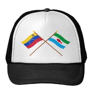 Banderas cruzadas de Venezuela y de Dependencias F Gorro De Camionero