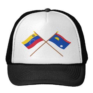 Banderas cruzadas de Venezuela y de Falcón Gorras
