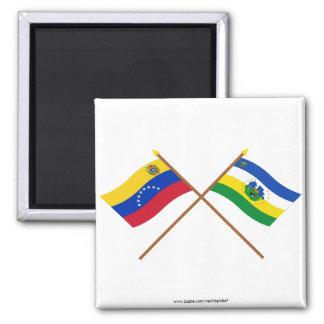 Banderas cruzadas de Venezuela y de Guárico Imán Cuadrado