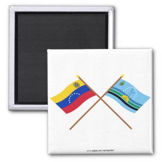 Banderas cruzadas de Venezuela y de Monagas Imanes