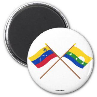 Banderas cruzadas de Venezuela y de Nueva Esparta Imán Redondo 5 Cm