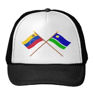 Banderas cruzadas de Venezuela y de Portuguesa Gorros Bordados