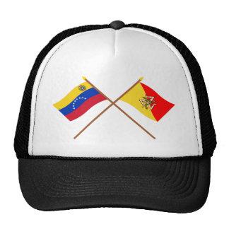Banderas cruzadas de Venezuela y de Sicilia Gorros Bordados