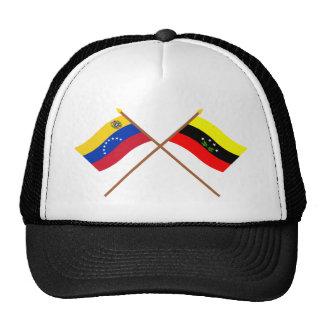 Banderas cruzadas de Venezuela y de Táchira Gorro