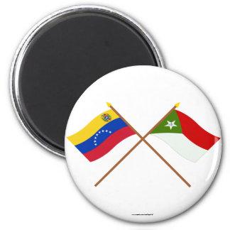Banderas cruzadas de Venezuela y de Trujillo Imanes De Nevera