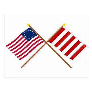 Banderas cruzadas del árbol de Betsy Ross y de la Postal