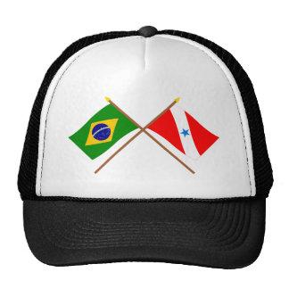 Banderas cruzadas del Brasil y de Pará Gorro De Camionero
