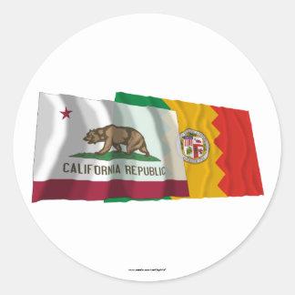 Banderas de California y de Los Ángeles Pegatina Redonda