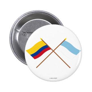 Banderas de Colombia y de Valle del Cauca Crossed Chapa Redonda 5 Cm