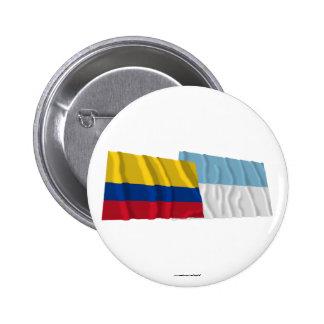 Banderas de Colombia y de Valle del Cauca Waving Pin