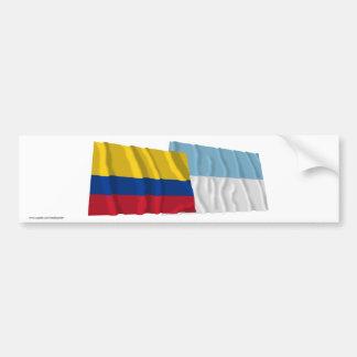 Banderas de Colombia y de Valle del Cauca Waving Etiqueta De Parachoque
