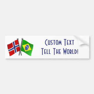 Banderas de la amistad de Noruega el Brasil Pegatina Para Coche