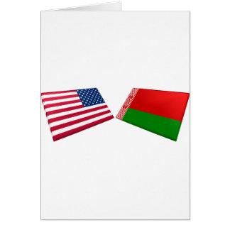 Banderas de los E.E.U.U. y de Bielorrusia Tarjeta De Felicitación