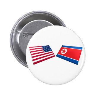 Banderas de los E E U U y de Corea del Norte Pin