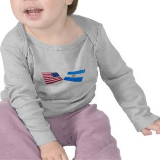 Banderas de los E.E.U.U. y de la Argentina Camiseta