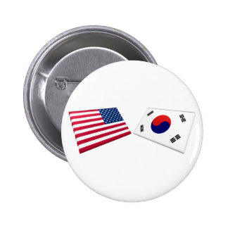 Banderas de los E.E.U.U. y de la Corea del Sur Chapa Redonda De 5 Cm