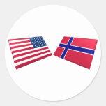 Banderas de los E.E.U.U. y de Noruega Etiquetas