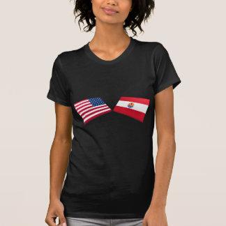 Banderas de los E.E.U.U. y de Polinesia francesa Camisetas