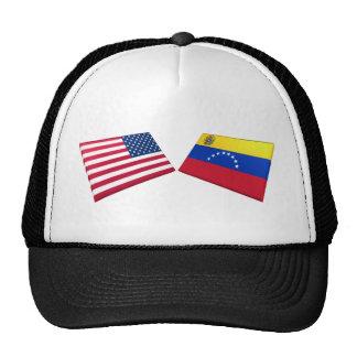 Banderas de los E E U U y de Venezuela Gorra
