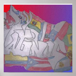 banderas de los latinas de la soja póster