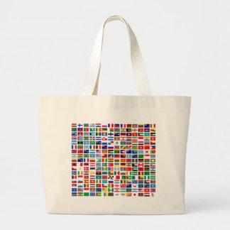 banderas del mundo contra blanco bolsa de tela grande